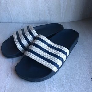Adidas 3 stripes slides navy white Sz 7